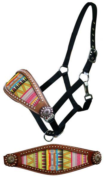 Aztec design bronc halter