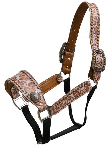 Belt Halter with burnt orange filigre print and copper barrel racer conchos