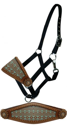 Teal and brown Navajo print bronc nose halter-Teal and brown Navajo print bronc nose halter