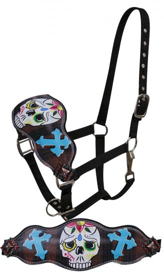 FULL SIZE Leather bronc halter with painted sugar skull with cross design
