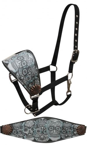 FULL SIZE Leather bronc halter with blue tinted sugar skull print accented with copper conchos-FULL SIZE Leather bronc halter with blue tinted sugar skull print accented with copper conchos