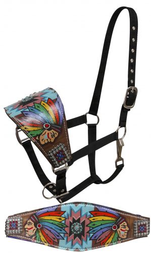 FULL SIZE Leather bronc halter with painted Native American cheif design