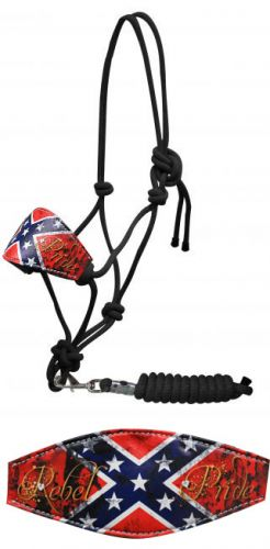 """ Rebel Pride"" cowboy knot bronc halter with removable lead"