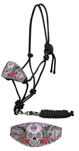 "Sugar skull "" Never give up!"" bronc halter"