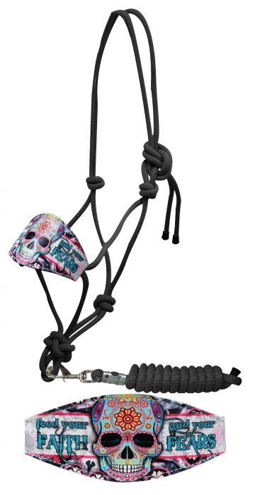 """Feed your faith and your fears"" sugar skull print bronc nose rope halter"