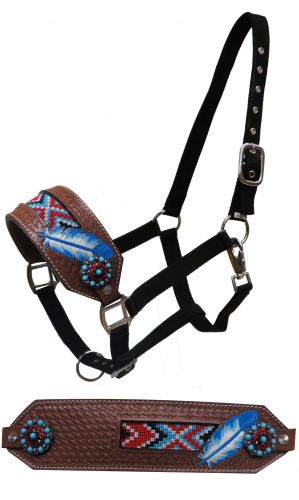 FULL SIZE Leather nose halter with beaded inlay and painted feather- FULL SIZE Leather nose halter with beaded inlay and painted feather