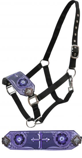 FULL SIZE Leather bronc halter with painted cross design