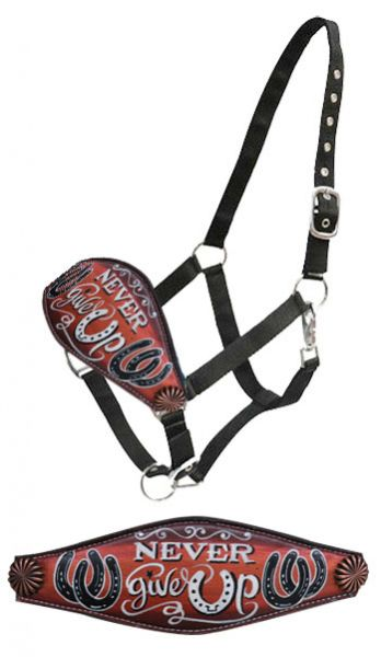""" Never give Up"" hand painted bronc nose halter"