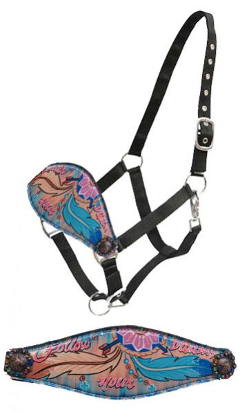""" Follow your Dreams"" hand painted bronc nose halter"