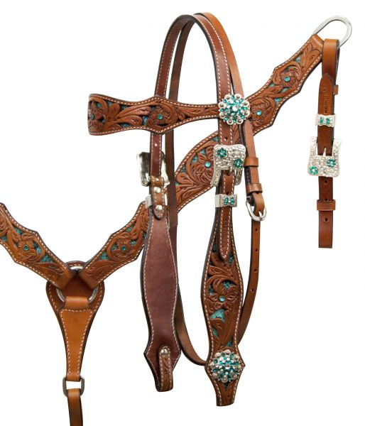 Teal snake headstall and breast collar set with crystal rhinestones