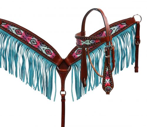 Pastel Navajo headstall and fringe breast collar set