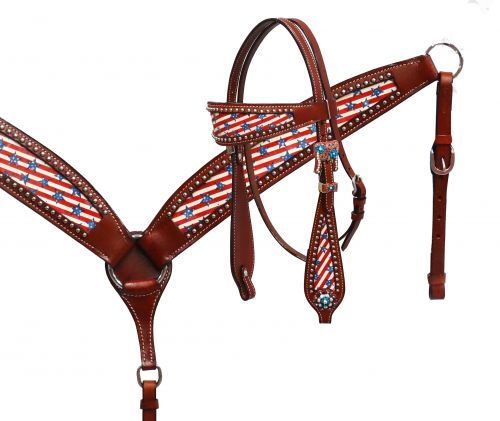 Stars & Stripes headstall and breast collar set-Stars & Stripes headstall and breast collar set