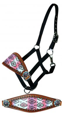 Adjustable nylon bronc halter with pastel Navajo diamond noseband