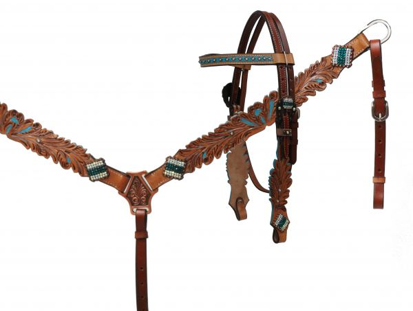 Hand painted headstall and breast collar set with rhinestones