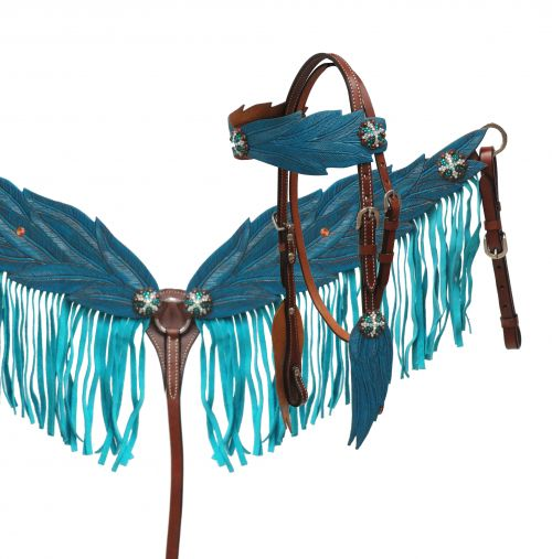Blue angel wing headstall and breast collar set