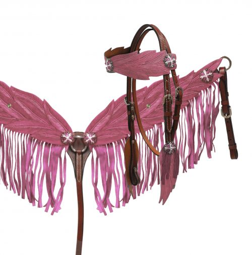 Light pink angel wing headstall and breast collar set