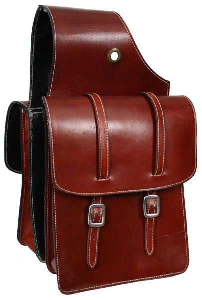 top grain leather saddle bag with double buckle closure.-top grain leather saddle bag with double buckle closure.