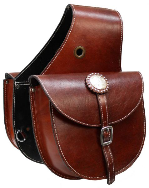 top grain leather saddle bag with single buckle closure.