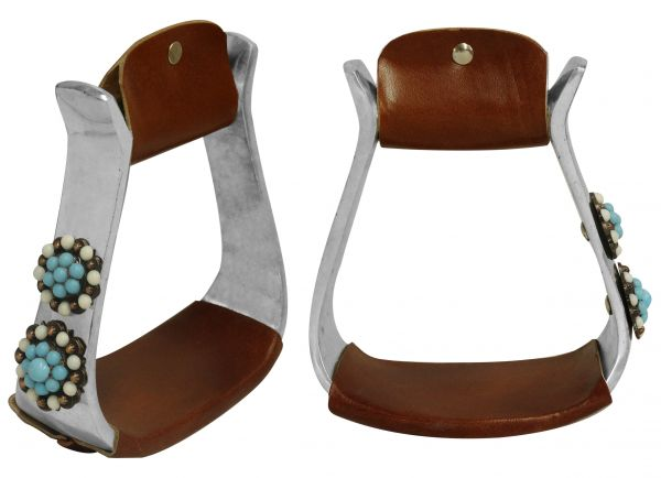 Light weight polished aluminum stirrups with candy button conchos