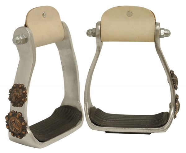 Light weight polished aluminum stirrups with copper engraved barrel racer conchos
