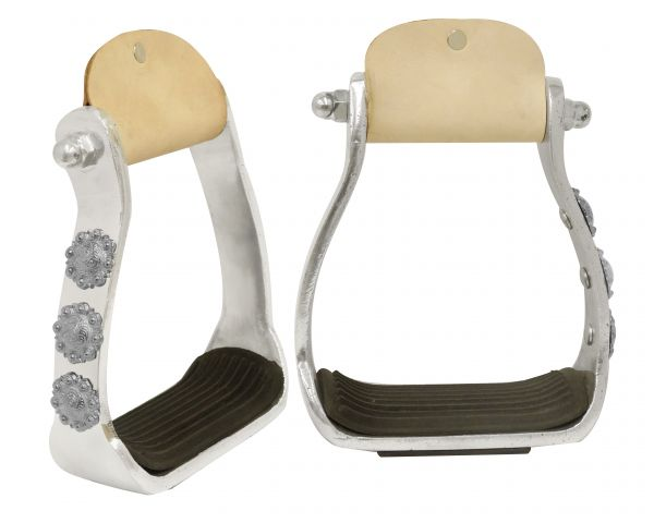 Light weight polished aluminum stirrups with engraved conchos