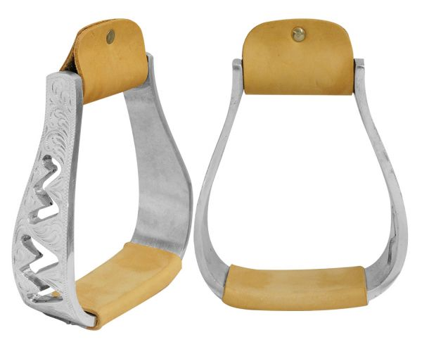 Engraved polished aluminum stirrups with cut out zig-zag design-Engraved polished aluminum stirrups with cut out zig-zag design