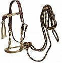 leather futurity knot headstall with rawhide braided bosal and horse hair mecate reins