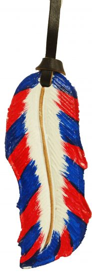 "5""  painted leather tie on feather-5  painted leather tie on feather"