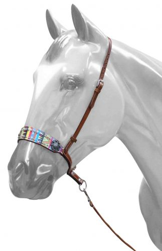 Adjustable Aztec print noseband with tie down strap- Adjustable Aztec print noseband with tie down strap