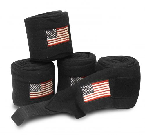 American flag embroidered black fleece polo wraps-American flag embroidered black fleece polo wraps