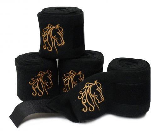 Black fleece polo wraps with embroidered horse-Black fleece polo wraps with embroidered horse