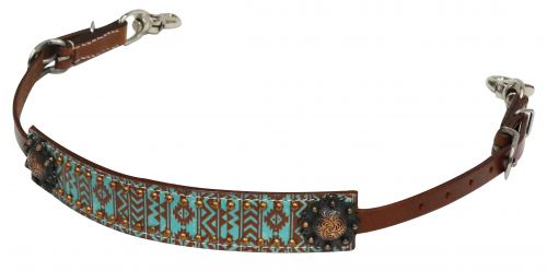 Teal and brown Navajo print wither strap-Teal and brown Navajo print wither strap