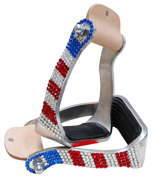 Red, White and Blue crystal rhinestone stirrups- Red, White and Blue crystal rhinestone stirrups