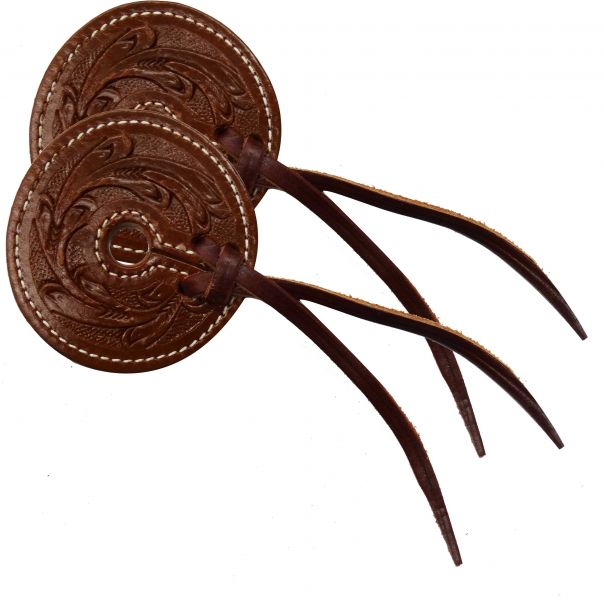 "Floral tooled 3"" wide leather bit guard with leather strap closure"