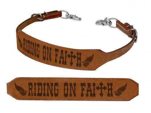 Riding on Faith branded wither strap