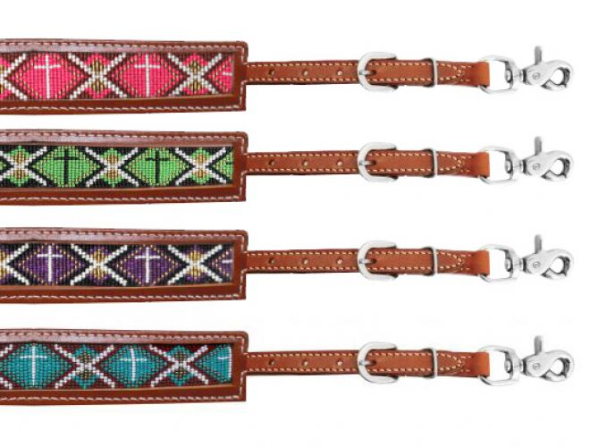 Medium leather wither strap with beaded inlay-Medium leather wither strap with beaded inlay