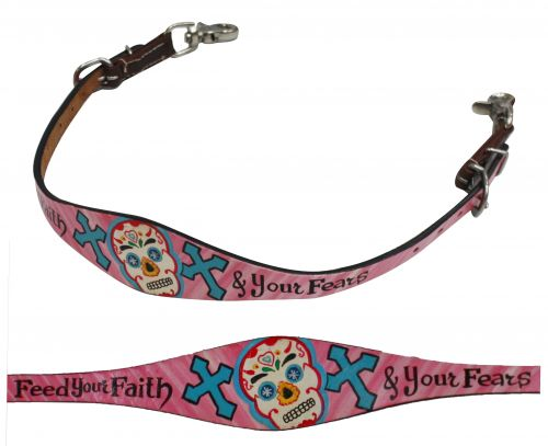 "Sugar skull "" Feed your faith & your fears"" painted wither strap"