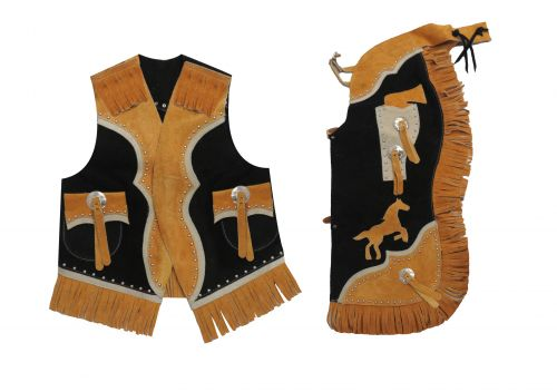 Kid's size two tone suede leather chap and vest outfit with fringe-Kid's size two tone suede leather chap and vest outfit with fringe