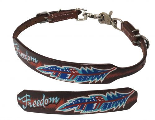 "Medium leather wither strap with painted "" Freedom"" design- Medium leather wither strap with painted  Freedom design"