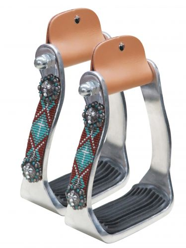 Polished aluminum stirrup with beaded accents-Polished aluminum stirrup with beaded accents