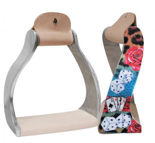 "Lightweight twisted angled aluminum stirrups with "" Gambling Rose"" design- Lightweight twisted angled aluminum stirrups with  Gambling Rose design"