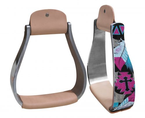 Holographic cross & feather print stirrup
