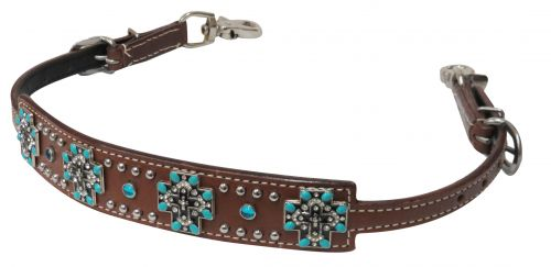 Turquoise stone cross concho wither strap-Turquoise stone cross concho wither strap