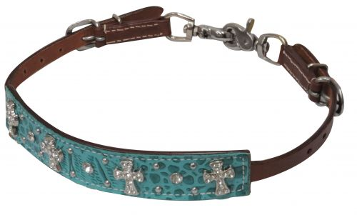 Teal alligator print leather wither strap with crystal rhinestone cross conchos- Teal alligator print leather wither strap with crystal rhinestone cross conchos