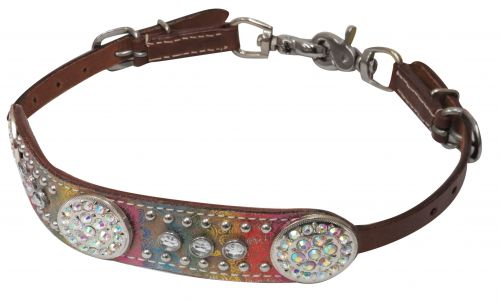 Crystal rhinestone concho wither strap with rainbow metallic paisley print overlay- Crystal rhinestone concho wither strap with rainbow metallic paisley print overlay