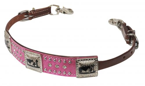 Pink paisley overlay wither strap with praying cowboy conchos