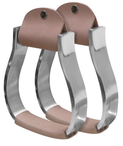 Pony/Youth polished aluminum stirrup with light leather tread- Pony/Youth polished aluminum stirrup with light leather tread