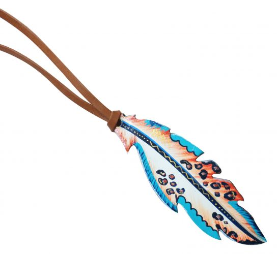 "6.5"" hand painted tie on saddle feather-6.5 hand painted tie on saddle feather"
