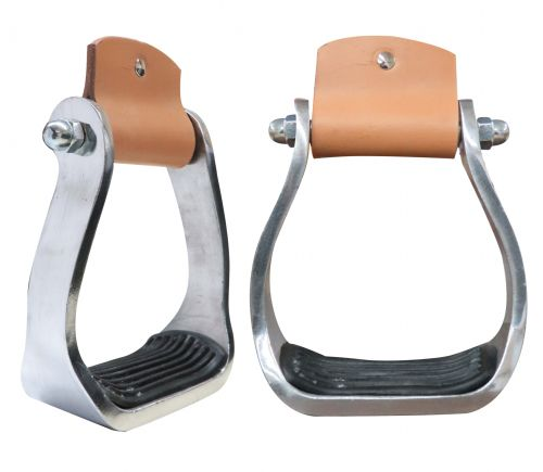Pony/Youth polished aluminum stirrup with rubber tread