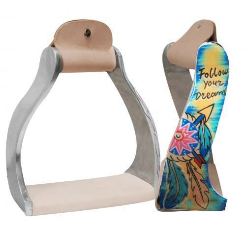 "Lightweight twisted angled aluminum stirrups with painted ""Follow your dreams"" design"